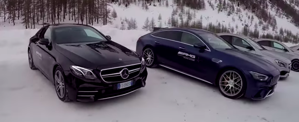 See How Mercedes-AMG Models Handle Ice, Get Stuck In Snowbank