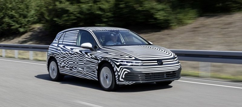 Eighth-generation VW Golf tries on a zebra suit before its debut